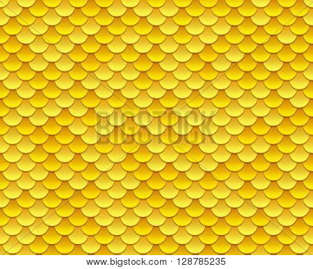 Golden fish scale texture or shiny sequins seamless pattern. Vector illustration.