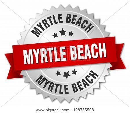 Myrtle Beach round silver badge with red ribbon