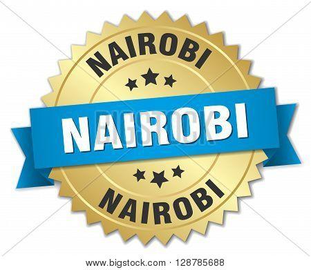 Nairobi round golden badge with blue ribbon