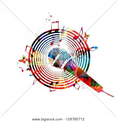 Music notes background with microphone. Vector illustration