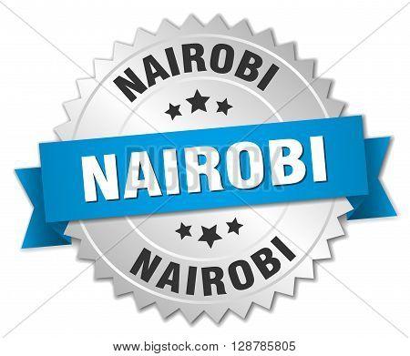 Nairobi round silver badge with blue ribbon