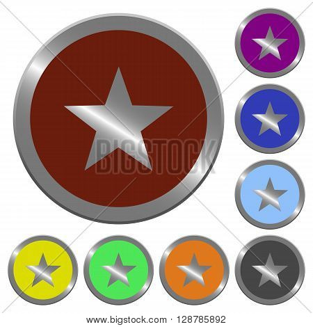 Set of color glossy coin-like favorite buttons.