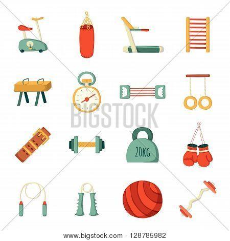 Set of vector cartoon gym icons. Sport healthy life concept. Fitness equipment design. Sport gym cartoon vector objects. Indoor gym equipment. Fitness activity concept. Cartoon fitness club equipment