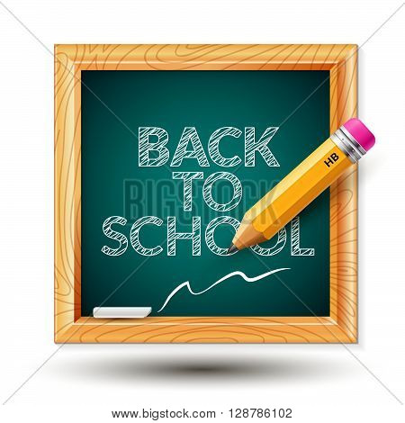 Vector illustration with the image of a school board, a simple pencil and writing
