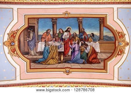 STITAR, CROATIA - AUGUST 27: Last Supper, fresco in the church of Saint Matthew in Stitar, Croatia on August 27, 2015