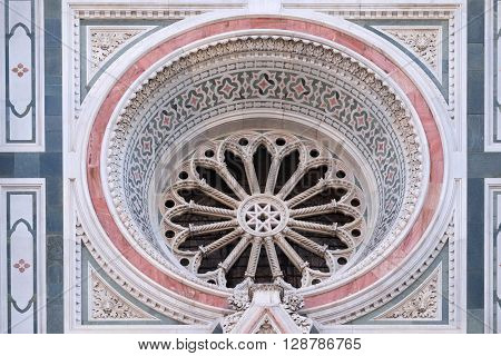 FLORENCE, ITALY - JUNE 05:  Rose Window, Portal of Cattedrale di Santa Maria del Fiore (Cathedral of Saint Mary of the Flower), Florence, Italy on June 05, 2015