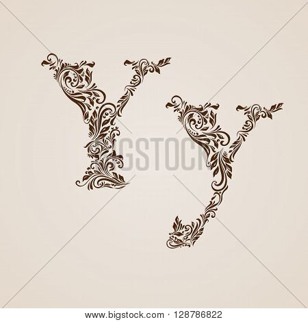 Handsomely decorated letter y in upper and lower case.