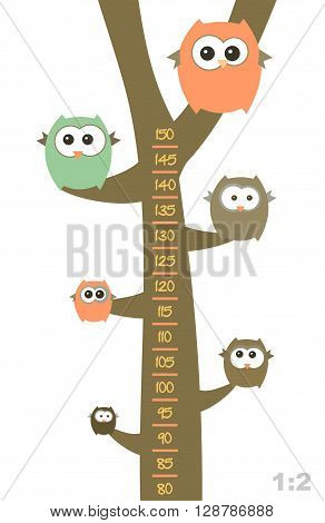 Baby height measure with funny owls on the tree (scale 1:2).