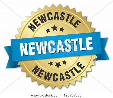 Newcastle round golden badge with blue ribbon