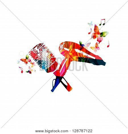 Vector illustration of colorful dryer and hairbrush