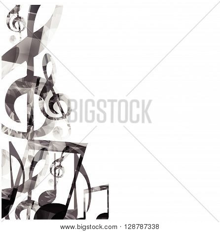Music black and white background with notes. Vector illustration