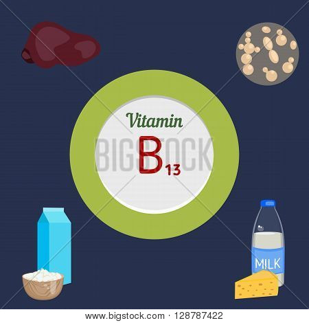 Vitamin B13 and vector set of vitamin B13 rich foods. Healthy lifestyle and diet concept.