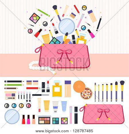 Make up bag vector flat illustrations. Woman bag full of cosmetics. Beauty and make up concept. Lipstick, eyeshadow, parfume, powder isolated on white background