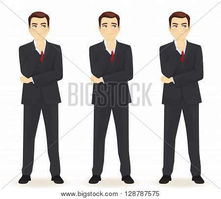 Set of emotions thoughtful business man isolated. Different face expressions