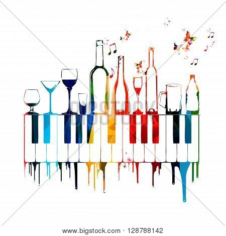 Vector illustration of colorful glasses and bottles with keyboards