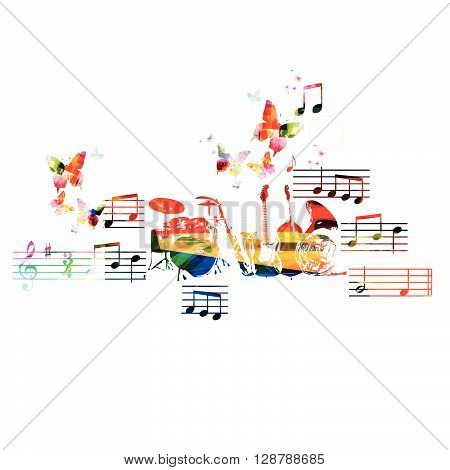 Colorful music instruments background with butterfly. Vector illustration