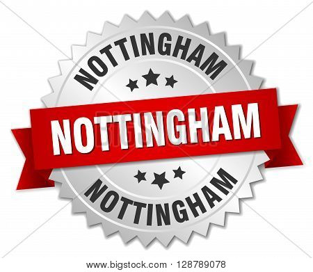Nottingham round silver badge with red ribbon