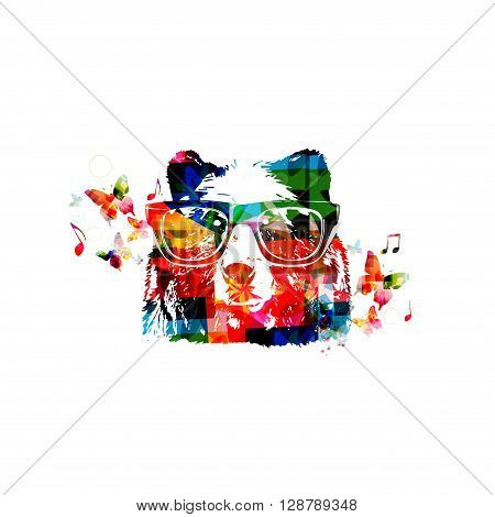 Vector illustration of colorful bear head with butterflies