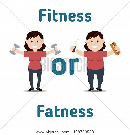 Healthy and unhealthy lifestyle concept. Fat and thin woman. Fitness or fatness.