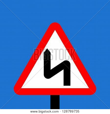 Warning triangle Double bend first to left sign
