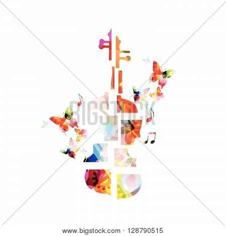 Colorful music background with violoncello. Vector illustration