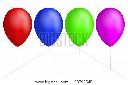 Set of four colorful balloons. Red balloon. Blue Balloon. Green balloon. Pink balloon. Ballons with rope or cord. Shiny birthday balloons. Balloons with white reflection.