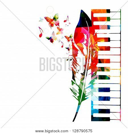 Vector illustration of colorful keyboard with feather