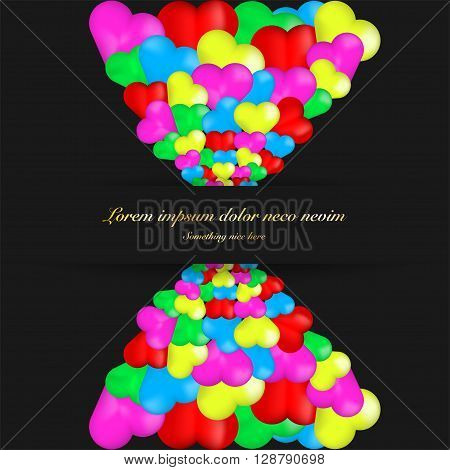 Greeting card full of colorful hearts. Valentine greeting card with lot of hearts and gold text. Colorful bright greeting card with hearts. 3D hearts on greeting card with gold text.