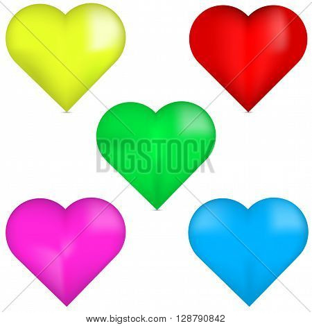 3D red heart 3D yellow heart 3D green heart 3D pink heart 3D blue heart. Set of 3D colorful hearts. Colorful hearts isolated on white background. Set of beautiful hearts.