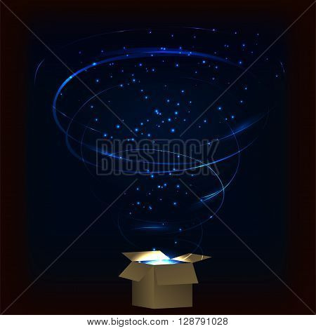 Magic box. Magic box with tornado fireworks. Magic box with circular plasma explosion. Magic box with sparkles. Box full of blue magic. Spell from magic box. Charming magic box.