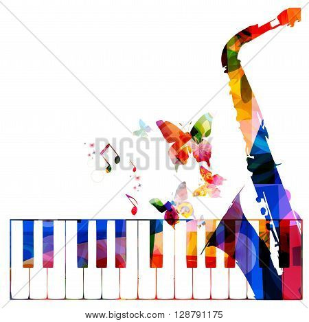 Vector illustration of colorful music instruments background