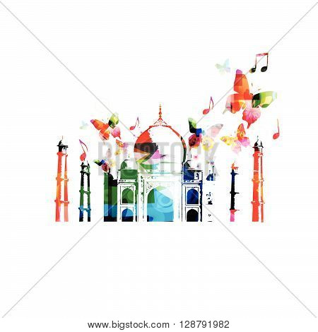Vector illustration of colorful Taj-Mahal mausoleum with butterflies