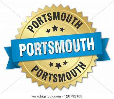 Portsmouth round golden badge with blue ribbon