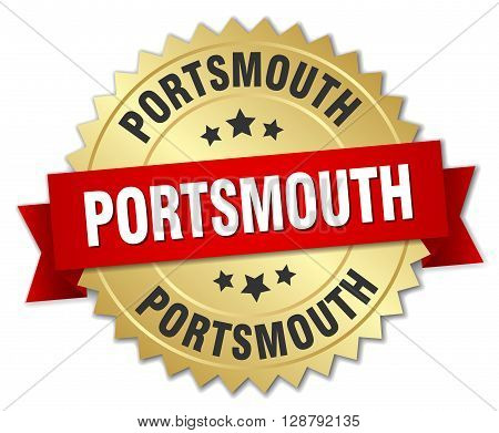 Portsmouth round golden badge with red ribbon