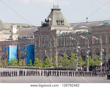 Moscow - May 6 2016: A lot of the military lined up in ranks during the final rehearsal of the Victory Day parade on Red Square on May 6 2016 Moscow Russia