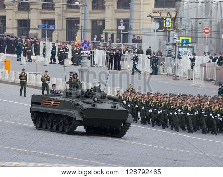Moscow - May 7 2016: Military equipment and military during the final rehearsal of the Victory Parade on Red Square near the Kremlin May 7 2016 Moscow Russia