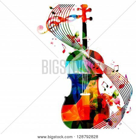 Vector illustration of colorful violoncello with butterflies