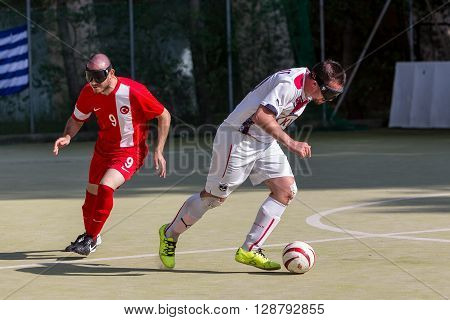 Thessaloniki Greece - May 7 2016: Undefined players in action during of 2nd IBSA Euro Challenge Cup and Thessaloniki International Blind Football Tournament between the teams Bordeaux vs Turkey