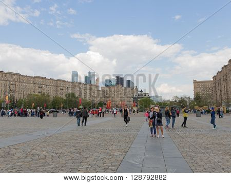 Moscow - May 6 2016: A lot of people walk on territrorii Victory Park on Kutuzovsky Prospekt on Poklonnaya Hill May 6 2016 Moscow Russia