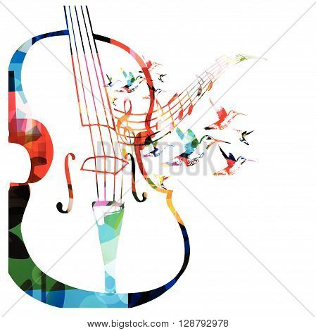 Vector illustration of colorful violoncello with hummingbirds