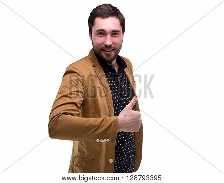 Bearded welcoming man with thumb on white background