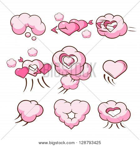Heart Shaped Cloud Collection Of Flat Outlined Pink Cartoon Girly Style Icons On White Background