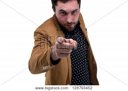 Bearded man with forefinger on white background