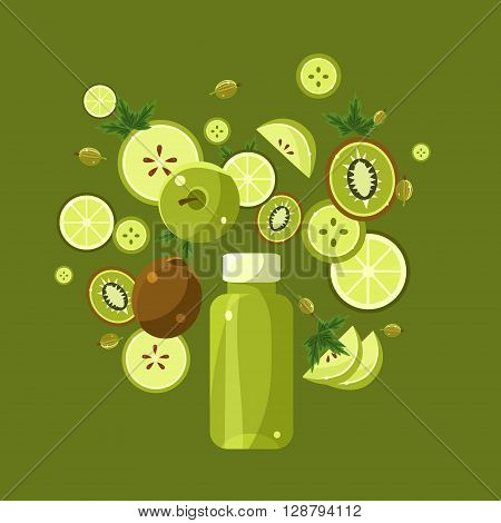 Ingredients For Green Smoothie  Flat Bright Colors Simple Style Vector Illustration On Green Background
