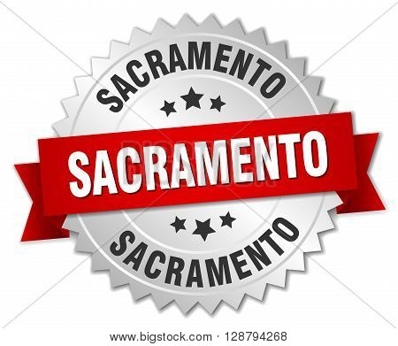 Sacramento round silver badge with red ribbon