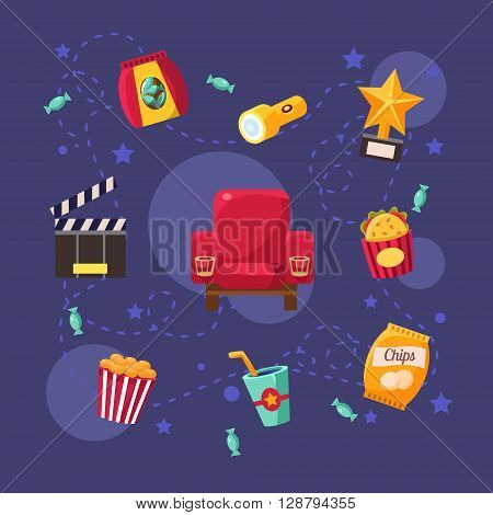 Cinema Related Objects Collection Flat Bright Colors Simple Style Vector Illustration On Dark Blue Background