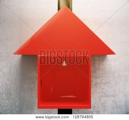 Red arrow elevator on concrete wall. 3D Rendering