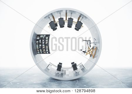 Abstract office interior inside concrete cylinder isolated on light background. 3D Rendering