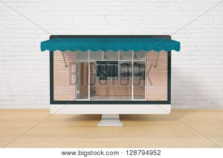 Ordering food online concept with cafe exterior on computer screen placed on wooden desktop and brick wall background. 3D Rendering