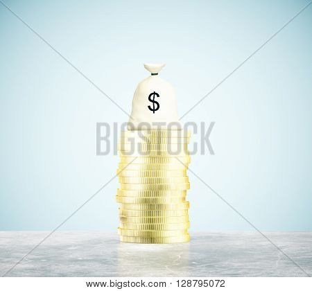 Money bag and coins on concrete floor and blue background. 3D Rendering